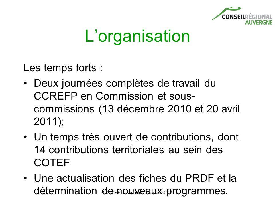 COTEF d'Ambert - février 2011 L'organisation Les temps forts : Deux journées complètes de travail du CCREFP en Commission et sous- commissions (13 déc