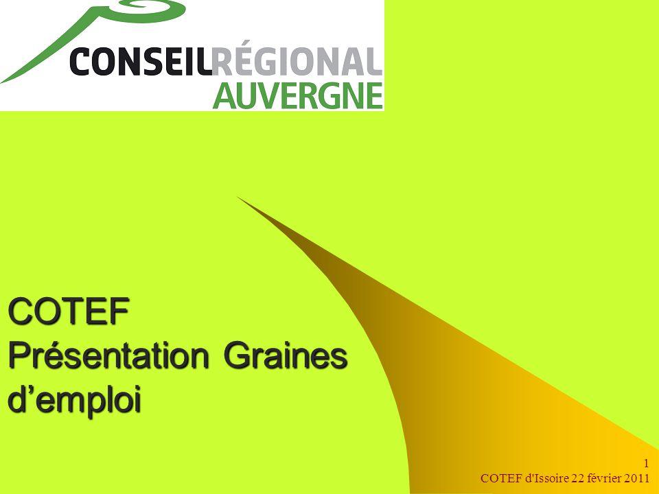 COTEF d Issoire 22 février 2011 1 COTEF Présentation Graines d'emploi