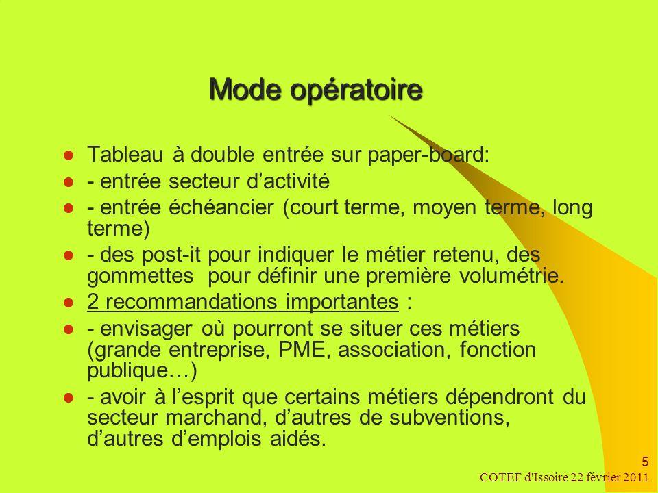 COTEF d Issoire 22 février 2011 6 Graines d'emploi Restitution des travaux du groupe une première réunion autour d'un choix : - deux secteurs retenus : l'industrie, les services à la personne.