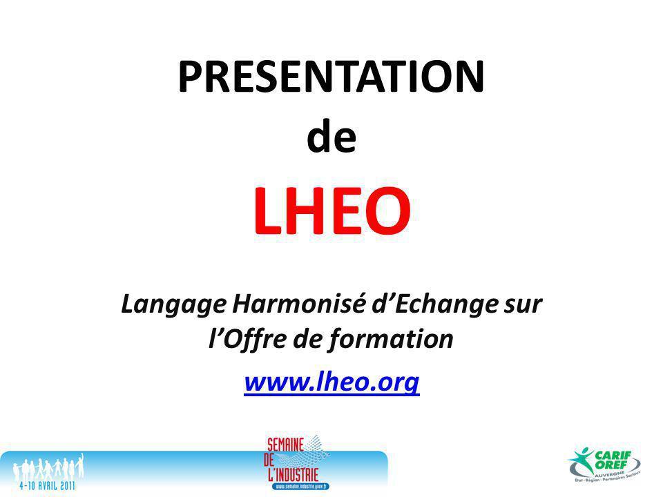 PRESENTATION de LHEO Langage Harmonisé d'Echange sur l'Offre de formation www.lheo.org