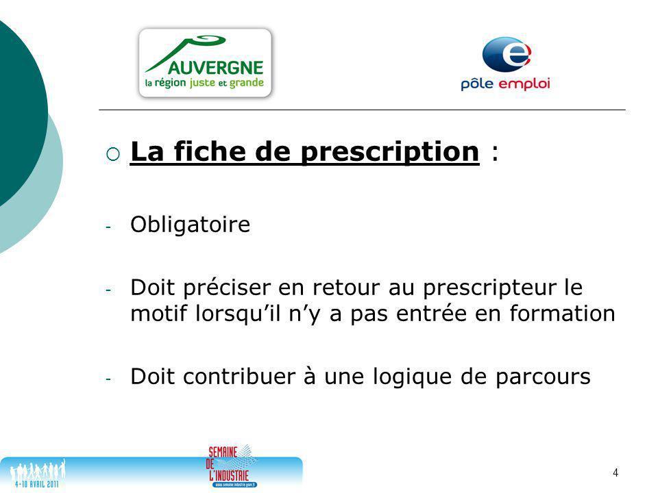 4  La fiche de prescription : - Obligatoire - Doit préciser en retour au prescripteur le motif lorsqu'il n'y a pas entrée en formation - Doit contribuer à une logique de parcours