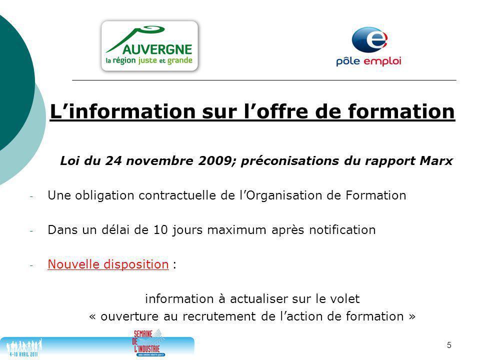 5 L'information sur l'offre de formation Loi du 24 novembre 2009; préconisations du rapport Marx - Une obligation contractuelle de l'Organisation de F