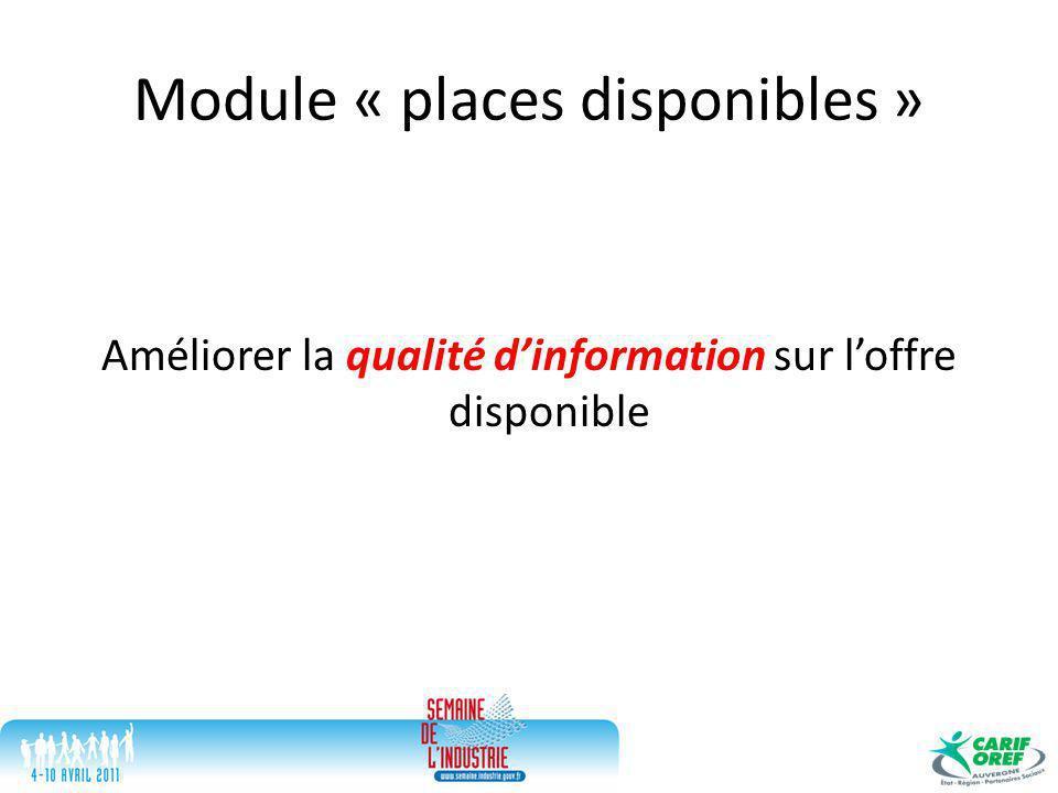 Module « places disponibles » Améliorer la qualité d'information sur l'offre disponible