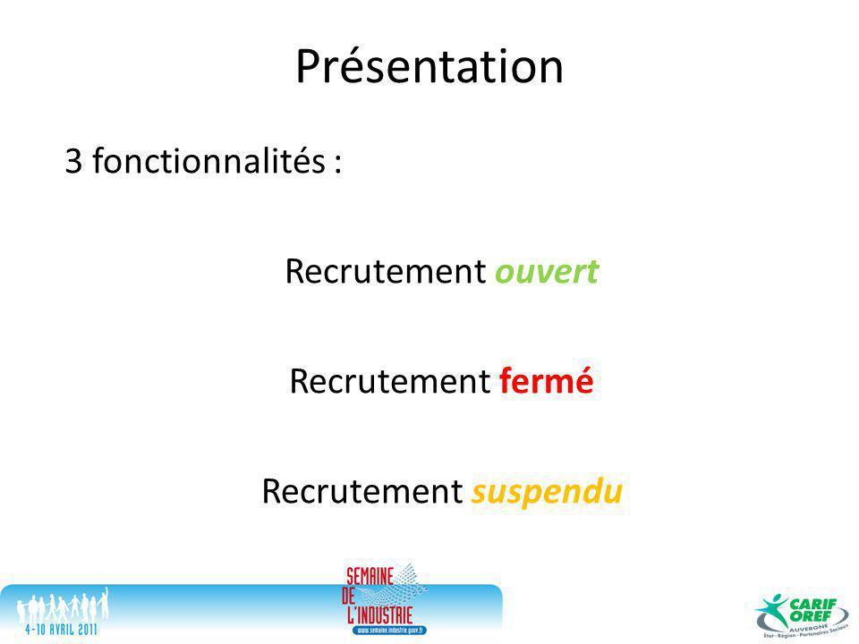 Présentation 3 fonctionnalités : Recrutement ouvert Recrutement fermé Recrutement suspendu