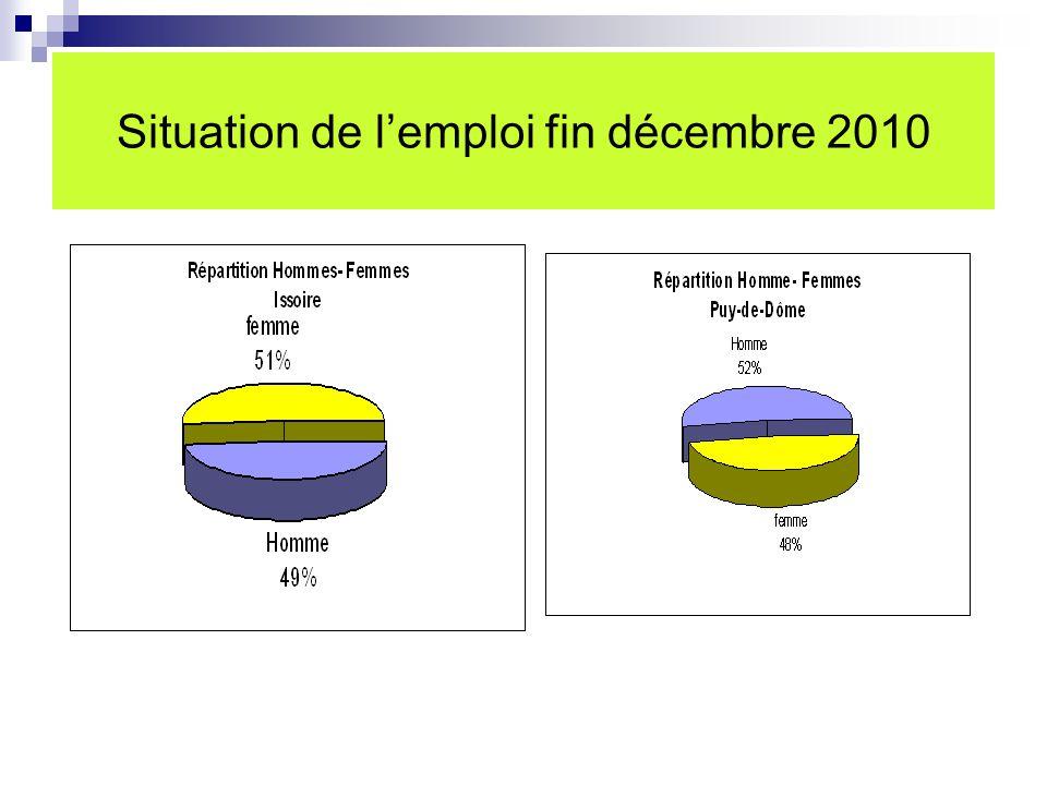 Situation de l'emploi fin décembre 2010