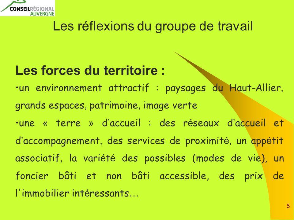 5 Les réflexions du groupe de travail Les forces du territoire : un environnement attractif : paysages du Haut-Allier, grands espaces, patrimoine, ima