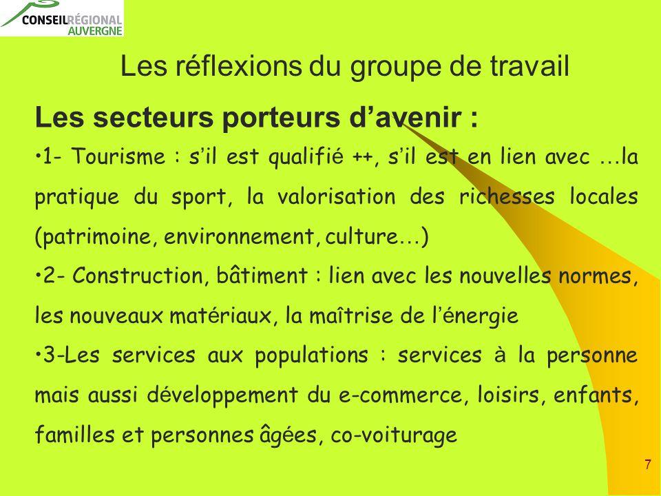 7 Les réflexions du groupe de travail Les secteurs porteurs d'avenir : 1- Tourisme : s ' il est qualifi é ++, s ' il est en lien avec … la pratique du
