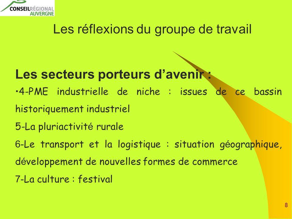 8 Les réflexions du groupe de travail Les secteurs porteurs d'avenir : 4-PME industrielle de niche : issues de ce bassin historiquement industriel 5-L