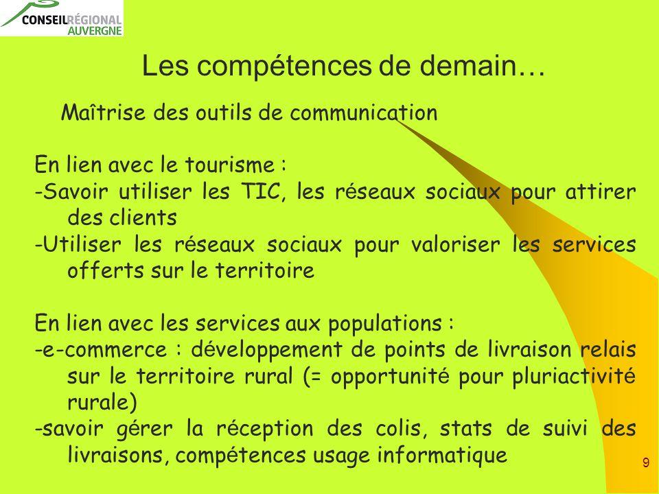9 Les compétences de demain… Ma î trise des outils de communication En lien avec le tourisme : -Savoir utiliser les TIC, les r é seaux sociaux pour at