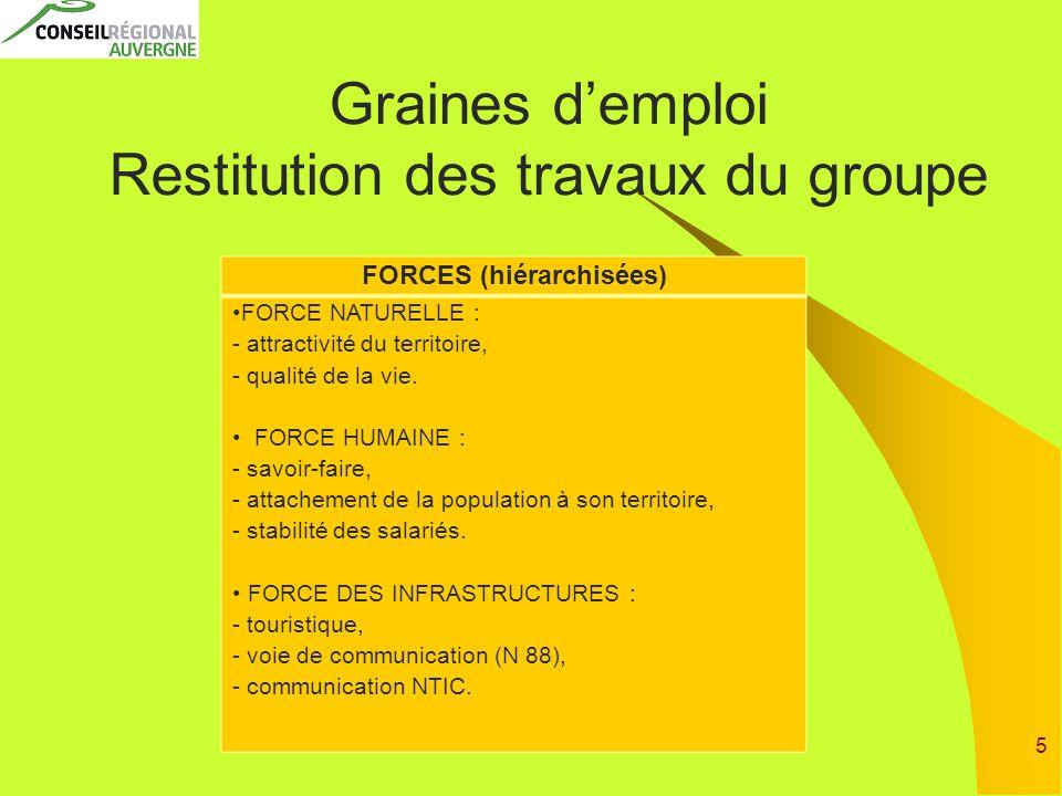 5 Graines d'emploi Restitution des travaux du groupe FORCES (hiérarchisées) FORCE NATURELLE : - attractivité du territoire, - qualité de la vie.