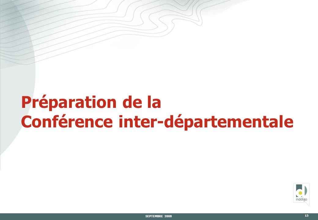 SEPTEMBRE 2008 15 Préparation de la Conférence inter-départementale
