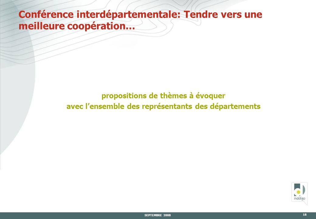 SEPTEMBRE 2008 18 Conférence interdépartementale: Tendre vers une meilleure coopération… propositions de thèmes à évoquer avec l'ensemble des représentants des départements