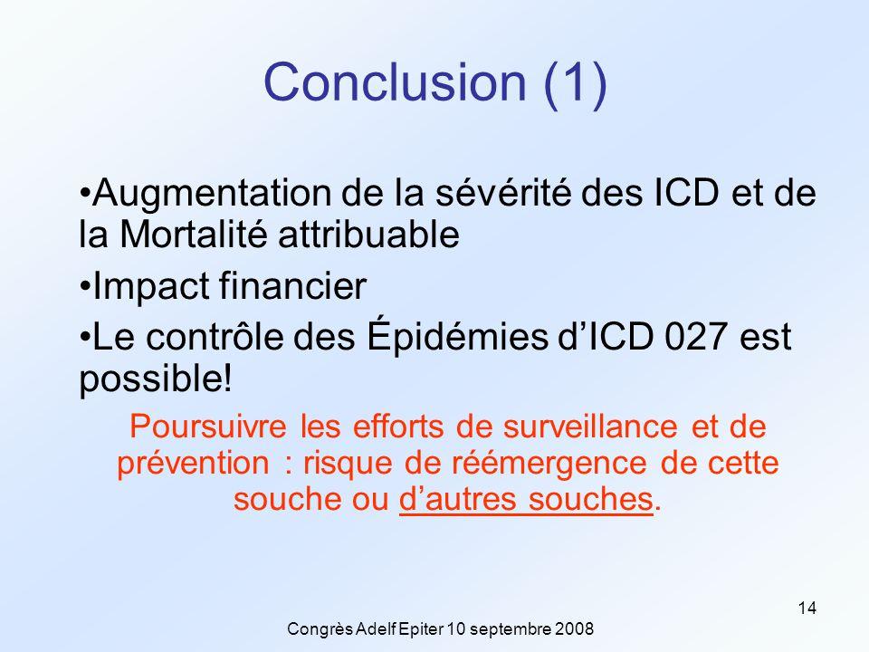 Congrès Adelf Epiter 10 septembre 2008 14 Conclusion (1) Augmentation de la sévérité des ICD et de la Mortalité attribuable Impact financier Le contrôle des Épidémies d'ICD 027 est possible.