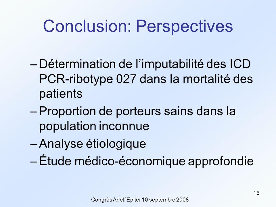 Congrès Adelf Epiter 10 septembre 2008 15 Conclusion: Perspectives –Détermination de l'imputabilité des ICD PCR-ribotype 027 dans la mortalité des patients –Proportion de porteurs sains dans la population inconnue –Analyse étiologique –Étude médico-économique approfondie
