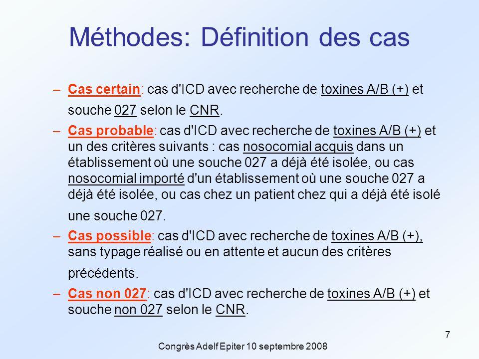 Congrès Adelf Epiter 10 septembre 2008 7 Méthodes: Définition des cas –Cas certain: cas d ICD avec recherche de toxines A/B (+) et souche 027 selon le CNR.