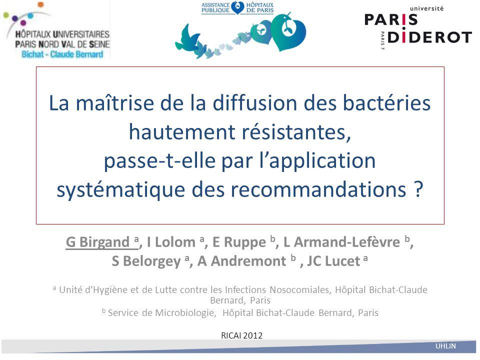 1 La maîtrise de la diffusion des bactéries hautement résistantes, passe-t-elle par l'application systématique des recommandations ? G Birgand a, I Lo