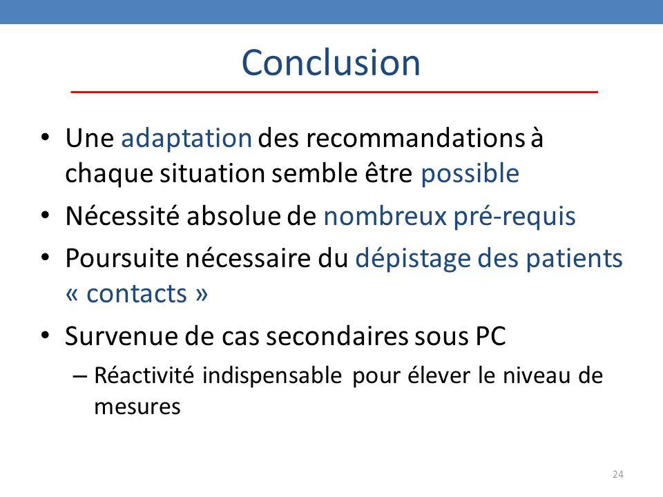 24 Conclusion Une adaptation des recommandations à chaque situation semble être possible Nécessité absolue de nombreux pré-requis Poursuite nécessaire