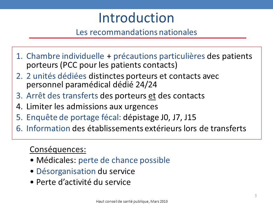 3 Introduction Les recommandations nationales 1.Chambre individuelle + précautions particulières des patients porteurs (PCC pour les patients contacts