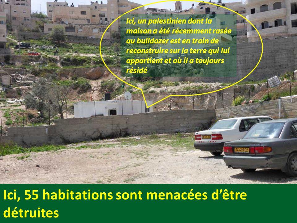 Ici, 55 habitations sont menacées d'être détruites Ici, un palestinien dont la maison a été récemment rasée au bulldozer est en train de reconstruire sur la terre qui lui appartient et où il a toujours résidé