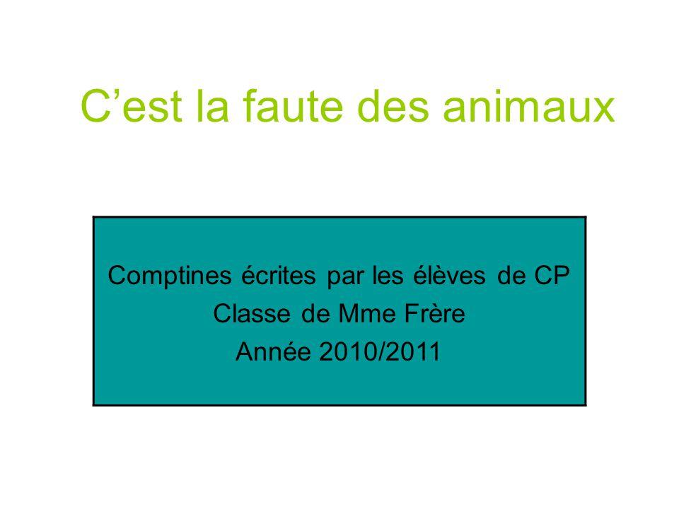 C'est la faute des animaux Comptines écrites par les élèves de CP Classe de Mme Frère Année 2010/2011