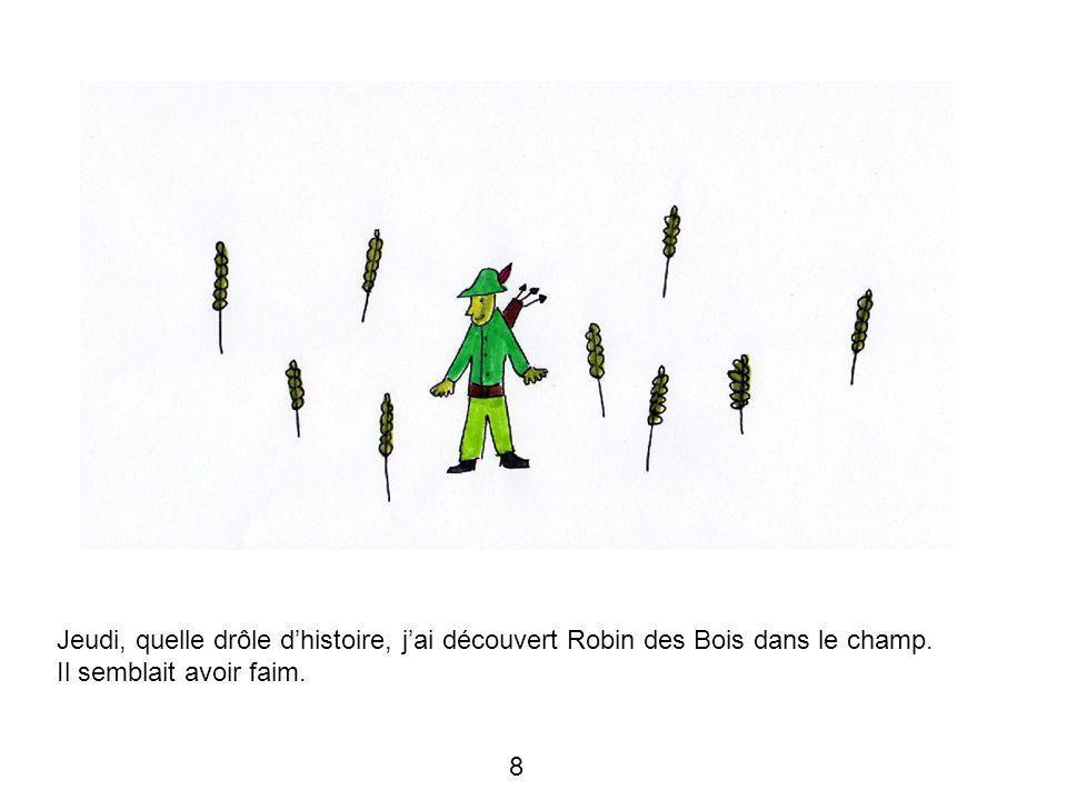 Jeudi, quelle drôle d'histoire, j'ai découvert Robin des Bois dans le champ. Il semblait avoir faim. 8