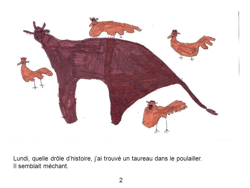 Lundi, quelle drôle d'histoire, j'ai trouvé un taureau dans le poulailler. Il semblait méchant. 2