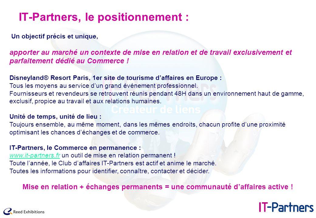 IT-Partners, le positionnement : Un objectif précis et unique, apporter au marché un contexte de mise en relation et de travail exclusivement et parfa