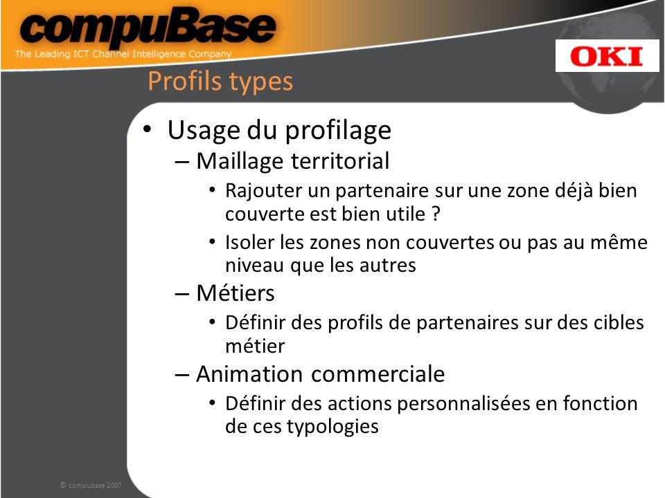 © compubase 2007 Profils types Usage du profilage – Maillage territorial Rajouter un partenaire sur une zone déjà bien couverte est bien utile .