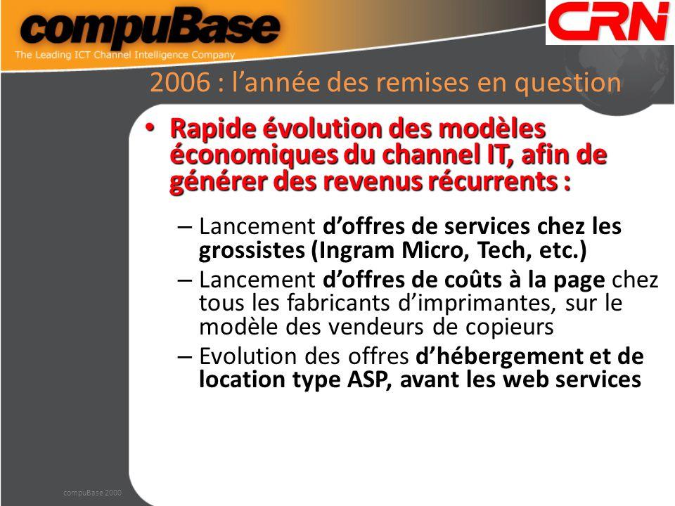 2006 : l'année des remises en question Rapide évolution des modèles économiques du channel IT, afin de générer des revenus récurrents : Rapide évoluti