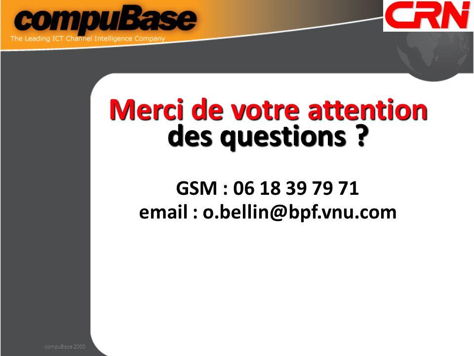 Merci de votre attention des questions ? GSM : 06 18 39 79 71 email : o.bellin@bpf.vnu.com compuBase 2000