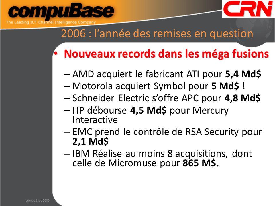 2006 : l'année des remises en question Nouveaux records dans les méga fusions Nouveaux records dans les méga fusions – AMD acquiert le fabricant ATI pour 5,4 Md$ – Motorola acquiert Symbol pour 5 Md$ .