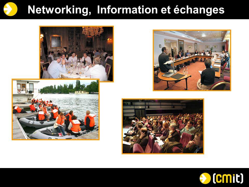 Valeur ajoutée pour les adhérents Partages d'expériences avec une grande variété de directeurs marketing Accès privilégié à des connaissances spécifiques au métier marketing dans les TIC Visibilité personnelle et société accrue Appartenance à une communauté d'influence Développement de partenariats