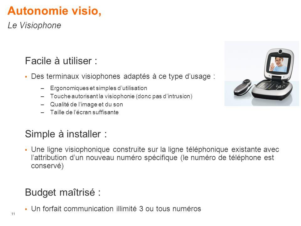 11 Facile à utiliser :  Des terminaux visiophones adaptés à ce type d'usage : –Ergonomiques et simples d'utilisation –Touche autorisant la visiophoni