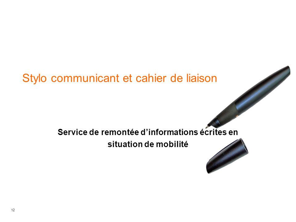 12 Stylo communicant et cahier de liaison Service de remontée d'informations écrites en situation de mobilité
