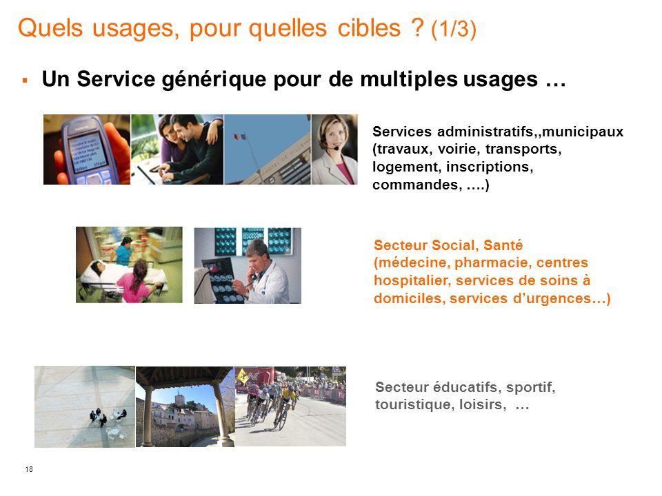 18 Quels usages, pour quelles cibles ? (1/3)  Un Service générique pour de multiples usages … Services administratifs,,municipaux (travaux, voirie, t