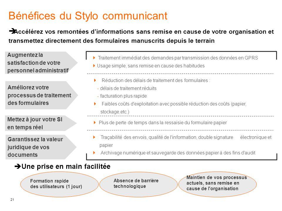 21 Bénéfices du Stylo communicant  Accélérez vos remontées d'informations sans remise en cause de votre organisation et transmettez directement des f