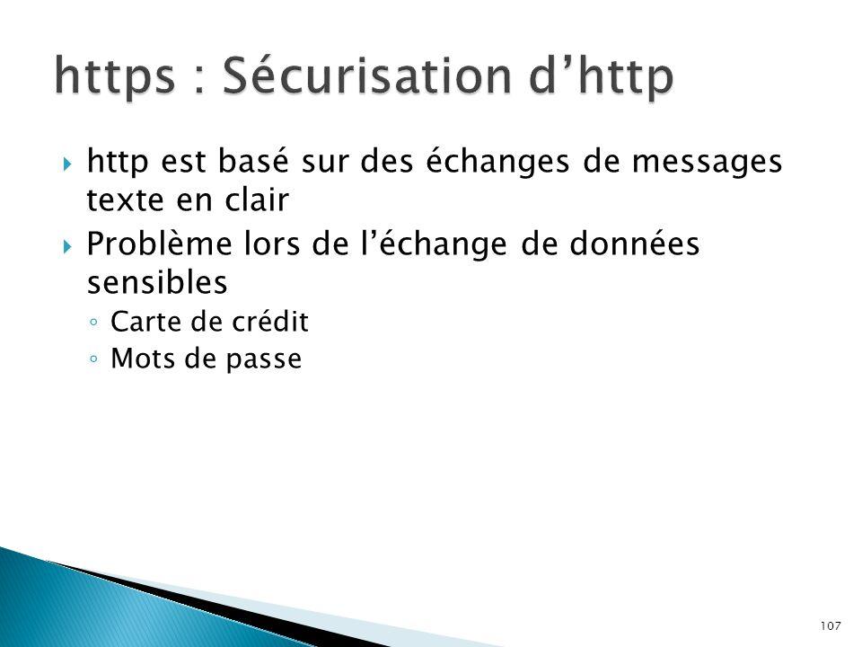 107  http est basé sur des échanges de messages texte en clair  Problème lors de l'échange de données sensibles ◦ Carte de crédit ◦ Mots de passe