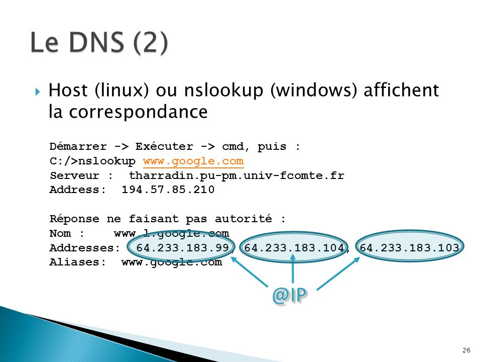  Host (linux) ou nslookup (windows) affichent la correspondance 26 Démarrer -> Exécuter -> cmd, puis : C:/>nslookup www.google.comwww.google.com Serv