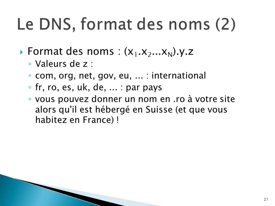  Format des noms : (x 1.x 2...x N ).y.z ◦ Valeurs de z : ◦ com, org, net, gov, eu,... : international ◦ fr, ro, es, uk, de,... : par pays ◦ vous pouv
