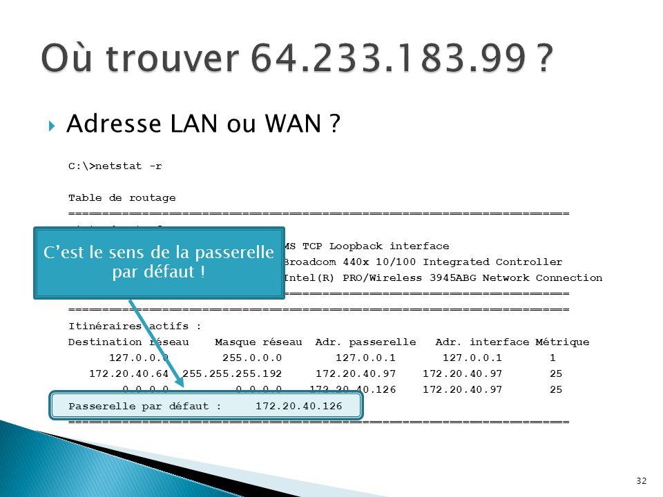  Adresse LAN ou WAN ? C:\>netstat -r Table de routage =========================================================================== Liste d'Interfaces