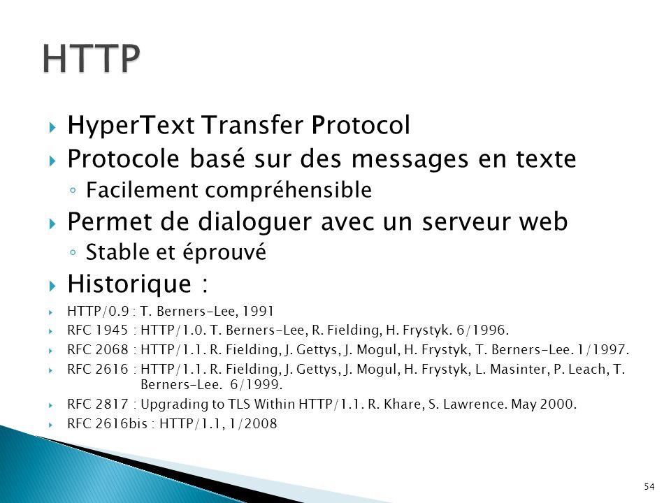  HyperText Transfer Protocol  Protocole basé sur des messages en texte ◦ Facilement compréhensible  Permet de dialoguer avec un serveur web ◦ Stabl