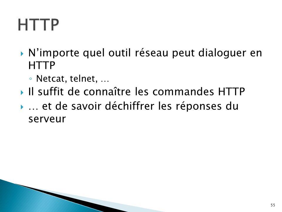  N'importe quel outil réseau peut dialoguer en HTTP ◦ Netcat, telnet, …  Il suffit de connaître les commandes HTTP  … et de savoir déchiffrer les r