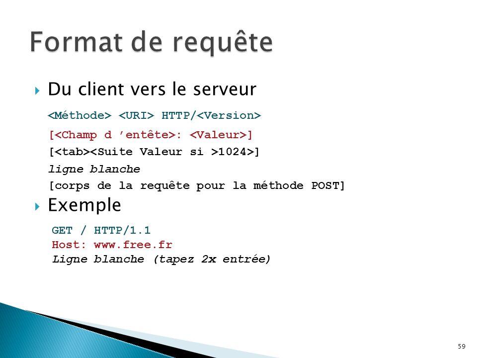  Du client vers le serveur HTTP/ [ : ] [ 1024>] ligne blanche [corps de la requête pour la méthode POST]  Exemple 59 GET / HTTP/1.1 Host: www.free.f