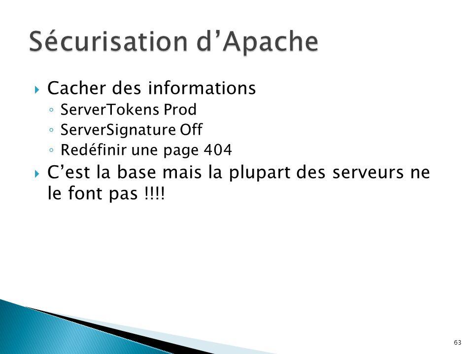 63  Cacher des informations ◦ ServerTokens Prod ◦ ServerSignature Off ◦ Redéfinir une page 404  C'est la base mais la plupart des serveurs ne le fon