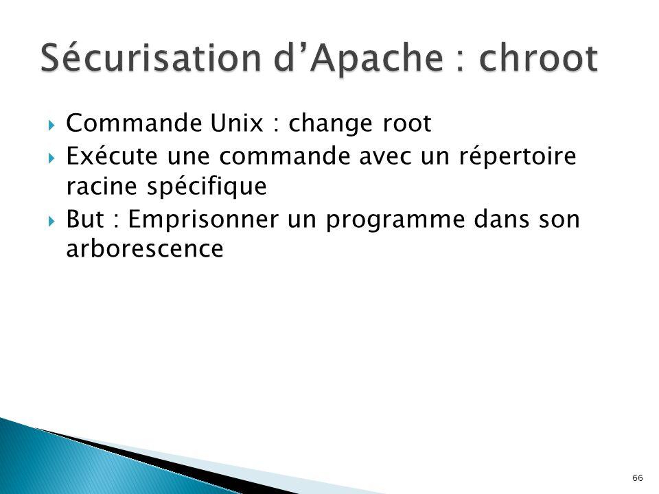 66  Commande Unix : change root  Exécute une commande avec un répertoire racine spécifique  But : Emprisonner un programme dans son arborescence