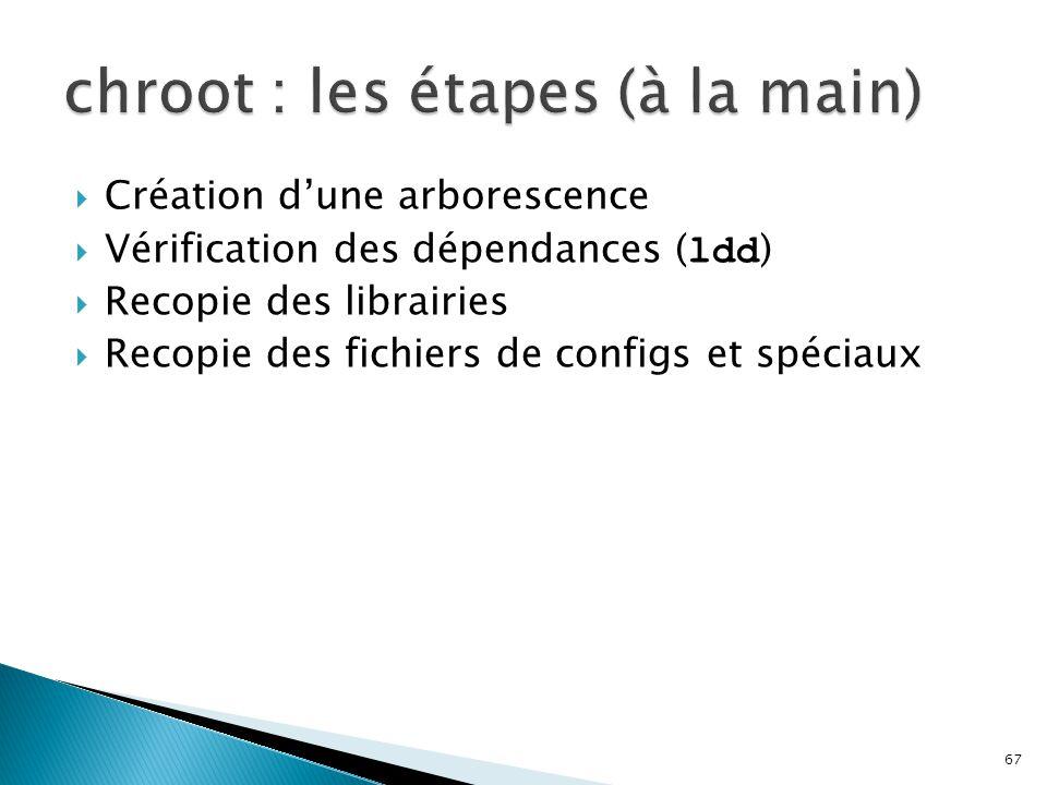 67  Création d'une arborescence  Vérification des dépendances ( ldd )  Recopie des librairies  Recopie des fichiers de configs et spéciaux