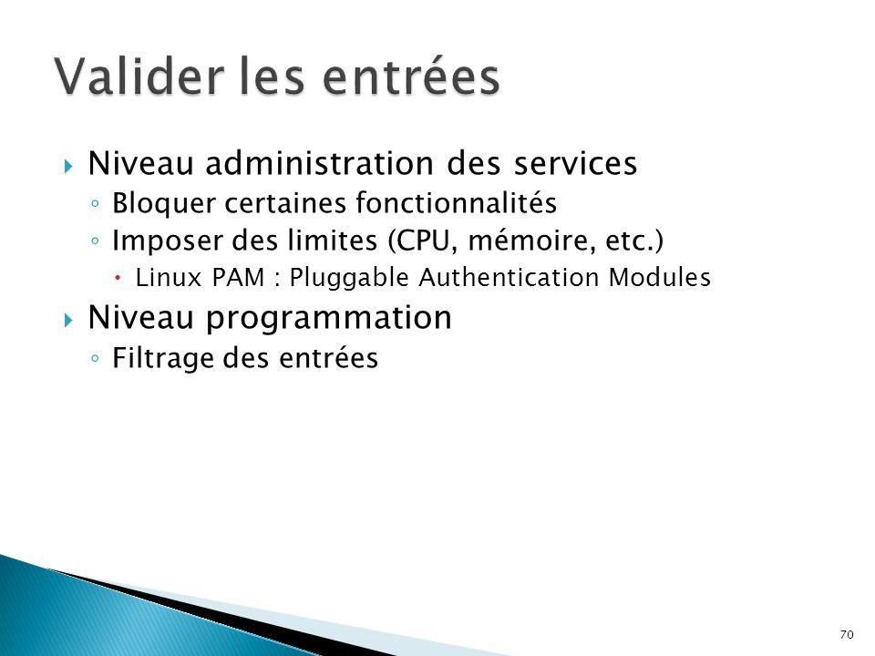 70  Niveau administration des services ◦ Bloquer certaines fonctionnalités ◦ Imposer des limites (CPU, mémoire, etc.)  Linux PAM : Pluggable Authent