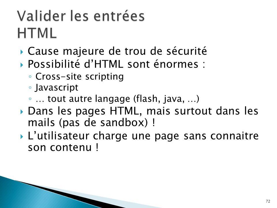 72  Cause majeure de trou de sécurité  Possibilité d'HTML sont énormes : ◦ Cross-site scripting ◦ Javascript ◦ … tout autre langage (flash, java, …)