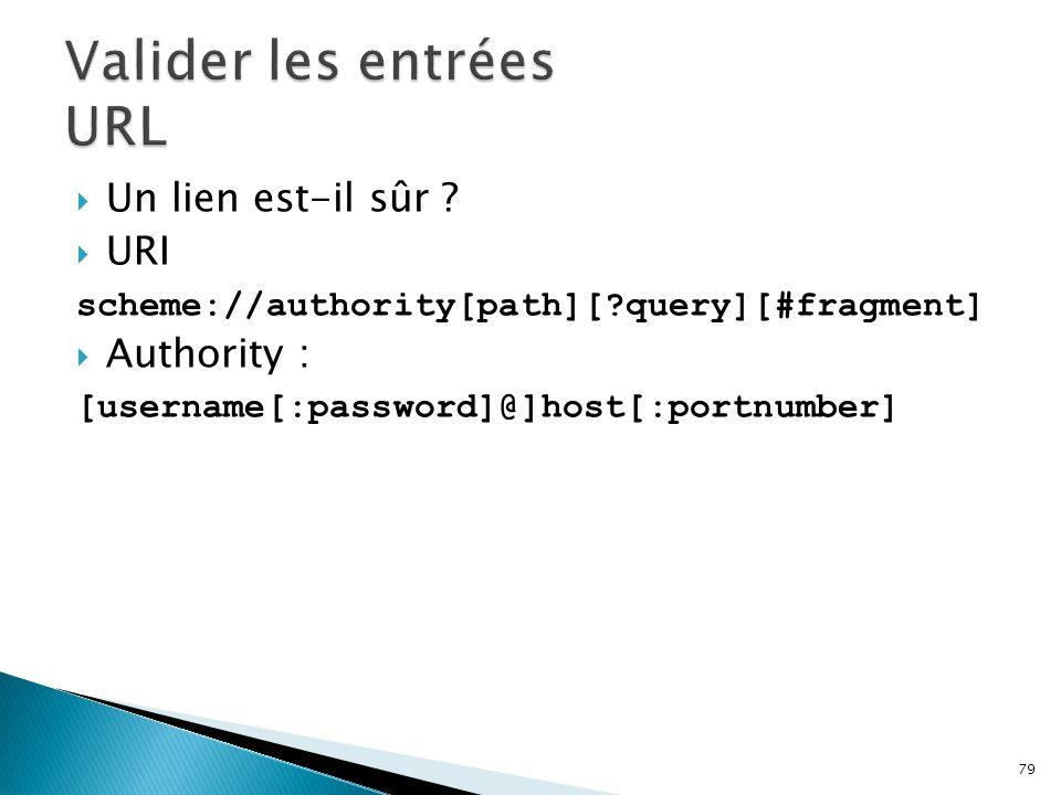 79  Un lien est-il sûr ?  URI scheme://authority[path][?query][#fragment]  Authority : [username[:password]@]host[:portnumber]
