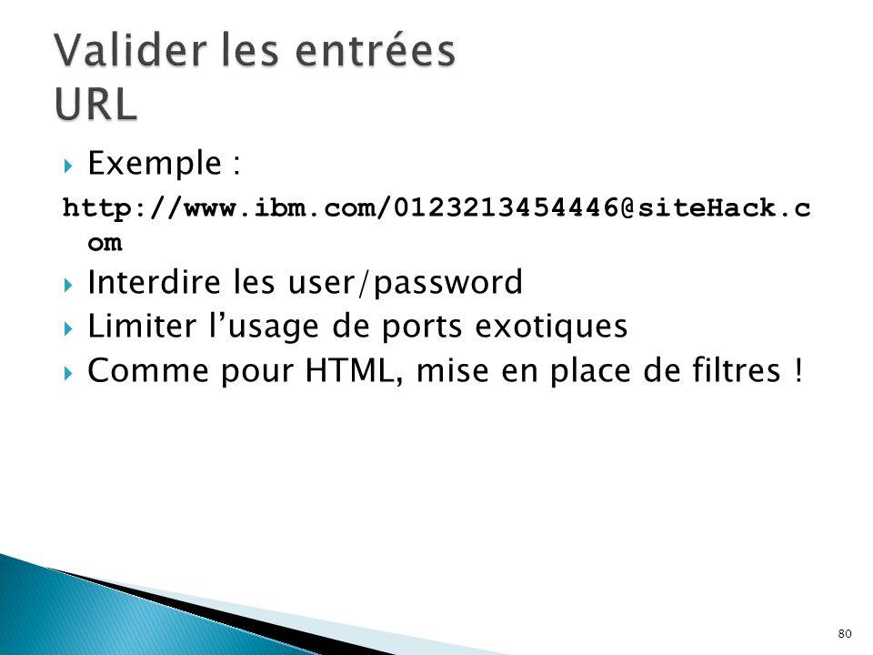 80  Exemple : http://www.ibm.com/0123213454446@siteHack.c om  Interdire les user/password  Limiter l'usage de ports exotiques  Comme pour HTML, mi